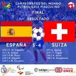 RESULTADO FINAL MASCULINO: ESPAÑA – SUIZA